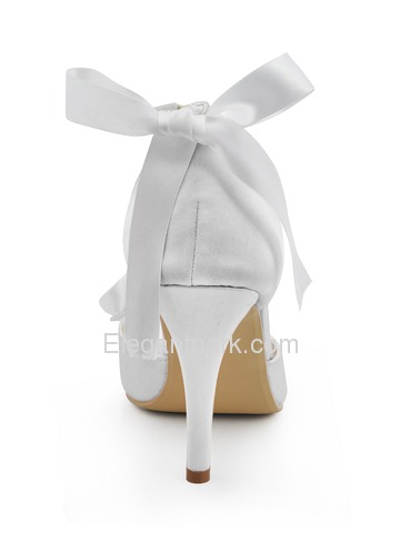 Elegantpark White Peep Toe Rhinestone Flowers Buckle Satin Wedding Evening Party Shoes (EP2092)