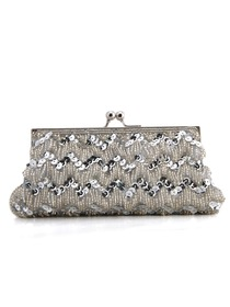 Gorgeous Satin Evening Bag Handbag Clutch With Beads