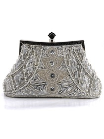 Gorgeous Silver Satin Evening Bag Handbag Purse With Beads