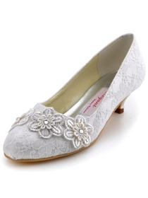 Elegantpark Ivory Closed Toe Appliques Lace Low Heel Wedding Bridal Shoes