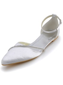 Elegantpark Strappy Pointy Toes Low Heel Beading Buckle Comfortable Bridal Shoes