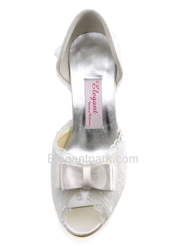 Elegantpark Ivory Peep Toe Bowknot Stiletto Heel Satin Lace Shoes (A3201)