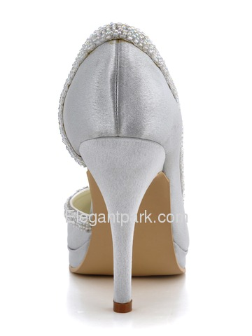 Elegantpark Almond Toe Modern Satin Beading Platforms Wedding Evening Party Shoes (EL-005C-PF)