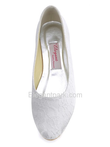 Elegantpark White Almond Toe Lace Flat Wedding Evening Party Shoes (EP11106)