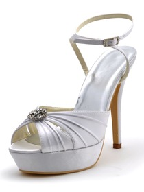 Elegantpark Peep Toe Rhinestones Platform Stiletto Heel Satin Pleats Wedding Bridal Slingbacks Sandals