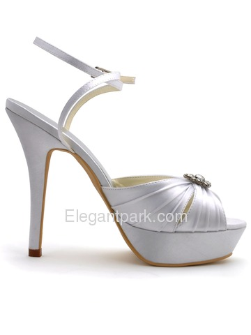 Elegantpark Peep Toe Rhinestones Platform Stiletto Heel Satin Pleats Wedding Bridal Slingbacks Sandals (EP2112-PF)