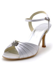 Elegantpark White Open Toe Rhinestones Satin Pleats Bridal Slingbacks Sandals