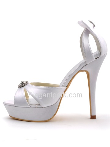 Elegantpark White Open Toe Rhinestones Stiletto Heel Platform Wedding Bridal Bowknots Sandals (EP2116-PF)