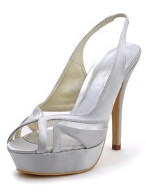 Elegantpark Silver Peep Toe Stiletto Heel Satin Platform Wedding Party Slingback Sandals