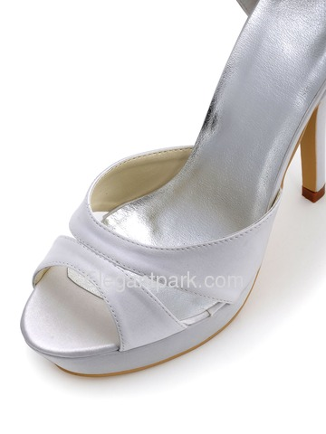 Elegantpark White Satin Platform Wedding Party Sandals with Rhinestones Bowknots on the Heelpiece (EP2120-PF)