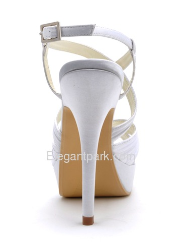 Elegantpark White Open Toe Platform Stiletto Heel Pleats Satin Bridal Sandals with Cross Buckle (EP2123-PF)