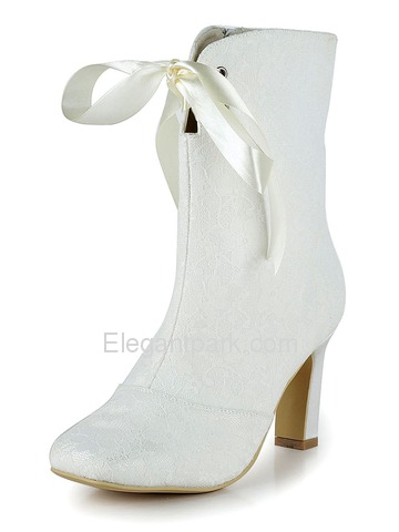 Elegantpark White Square Toe Satin Lace Fashion Evening & Party Bridal Boots (MB-025)