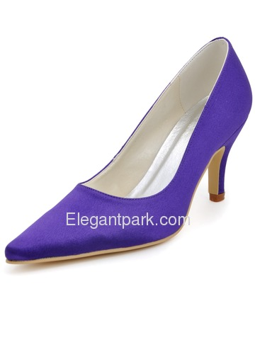 Elegant Purple Pointy Toe Stiletto High Heel Satin Prom Shoes (EP2131)