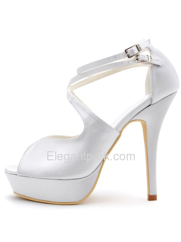 Elegantpark White High Heel Shoes Peep Toe Cross Straps Stiletto Heel Platform Satin Wedding Sandals (EP2128-PF)