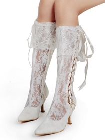 Elegantpark Lace Upper Pointy Toes Stiletto Heel with Ribbon Tie Modern Knee High Wedding Bridal Boots