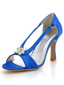 Elegantpark Blue Open Toe Stiletto Heel Satin Wedding Evening Party Shoes