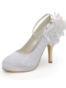 Elegantpark White Almond Toe Platform Side Flower Ankle Strap Stiletto Heel Lace Wedding Shoes