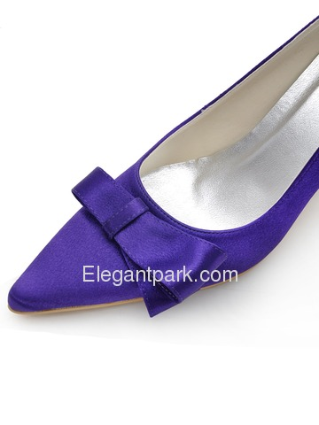 Elegantpark Purple Pointed Toe Cutouts Bow Stiletto Heel Satin Prom Shoes (EP2134)