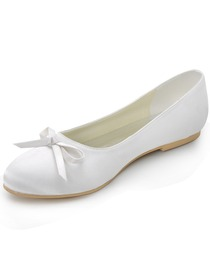 Elegantpark White Round Toe Bow Flat Heel Satin Wedding Shoes