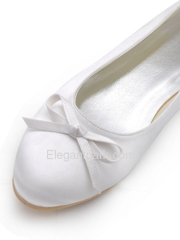 Elegantpark White Round Toe Bow Flat Heel Satin Wedding Shoes (EP2135)