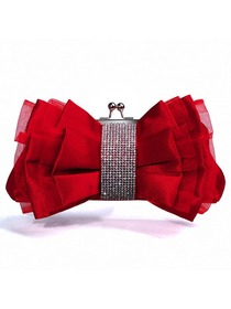 Red Stylish Rhinestone Organza Formal Evening Party Hangbag