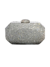 Silver Shiny Snap Closure Women Wine Bags Formal Evening Party Rhinestones Clutch