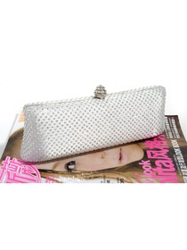 Elegant Ladies Clutch Silver Satin Wedding Forming Evening Handbag