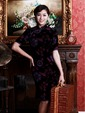 Elegant Purple Women Knee-length Short Sleeves Flower-printed Velour Cheongsam