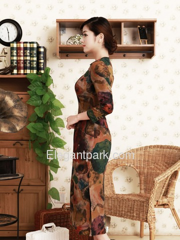 Elegant Brown Tea-length Three Quater Sleeves Flower Pattern Round Neck Cheongsam