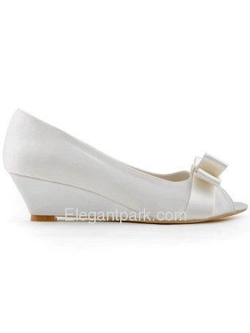 Elegantpark 2014 New Arrival Peep Toe Bow Ribbon Satin Wedge Heel Wedding Shoes (WP1402)