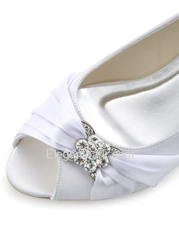 Elegantpark 2014 New White Peep Toe Rhinestone Wedge Heel Satin Bridal Shoes (WP1403)