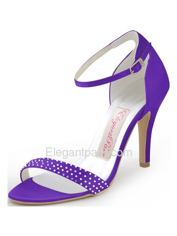 Elegantpark 2014 Fashion Women New Open Toe High Heel Rhinestones Buckle Satin Party Sandals (HP1408)