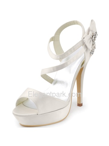 Elegantpark 2014 Women New Open Toe High Heel Slingback Platform Rhinestones Satin Wedding Sandals (SP1407P)
