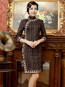 Elegant Brown Striated Three Quarter Sleeve Knee-length Cotton Cheongsam