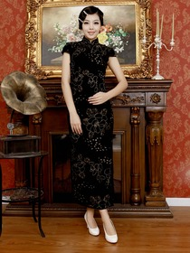 Black Vintage Flower Pattern Cap Sleeves Ankle Length Velvet Cheongsam