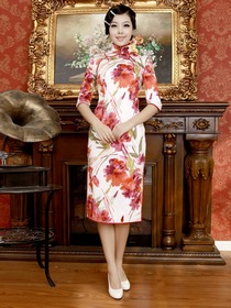 White Flower Printing Half Sleeve Tea Length Cotton Cheongsam
