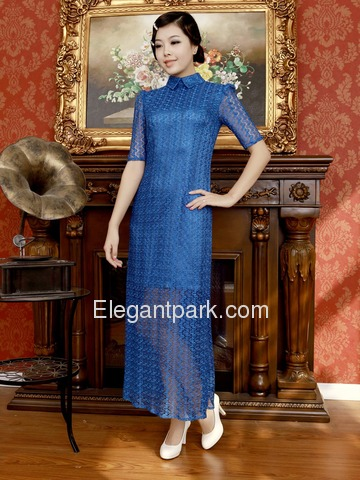 Blue Fashion Lapel Half Sleeve Ankle-length Transparent Lace Cheongsam