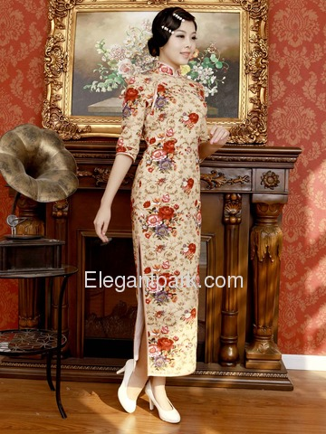 Champagne Mandarin Embroidery Half Sleeve Ankle-length Cotton Cheongsam