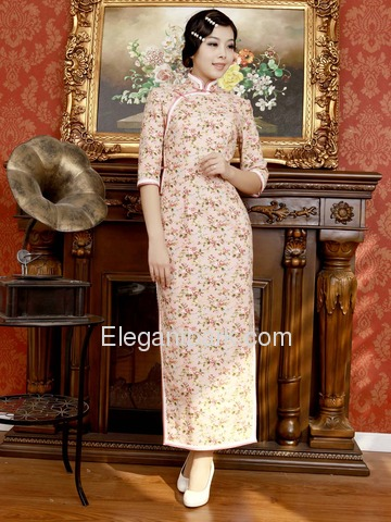 Pink Vintage Flower Printing Lace Piping Three Quarter Sleeve Ankle-length Cotton Cheongsam