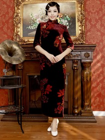 Burgundy Elegant Three Quarter Sleeve Ankle Length Velvet Traditional Cheongsam