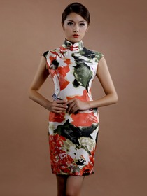 White Fashion Flower Printing Mandarin Cap Sleeve Cocktail Length Silk Cheongsam