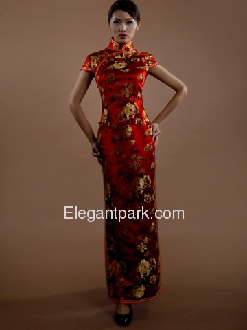 Red Traditional Embroidery Cap Sleeve Ankle Length Silk Brocade Cheongsam