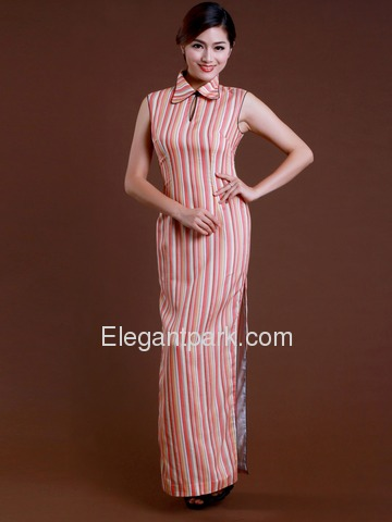 Pink Lapel Stripes Sleeveless Ankle Strap Back Zipper Cotton Cheongsam