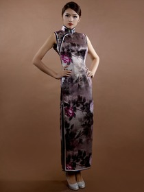 Gray Flower Printing Mandarin Sleeveless Ankle Length Silk Brocade Traditional Cheongsam