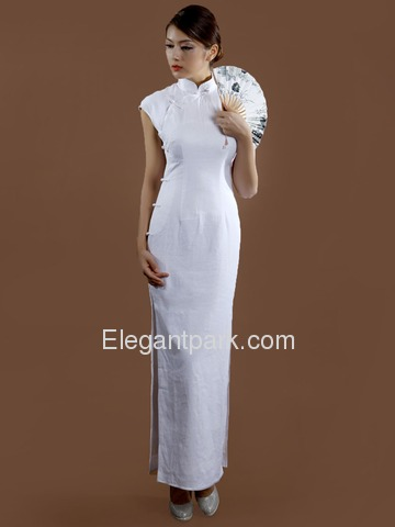 Elegant Mandarin Cap Sleeve Full Buttons Ankle Length Cotton Cheongsam