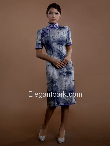 Traditional Tie Dye Blue Mandarin Short Sleeve Knee Length Cotton Cheongsam