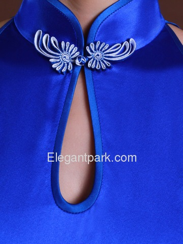Royal Blue Elegant Mandarin Sleeveless Ankle Length Silk Cheongsam