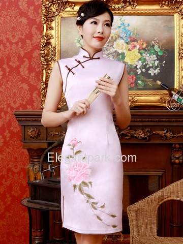 Pink Mandarin Sleeveless Embroidery Knee Length Nylon Traditional Cheongsam