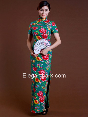 Teal Flower Print Sweet Short Sleeves Back Zipper Ankle Length Cotton Cheongsam