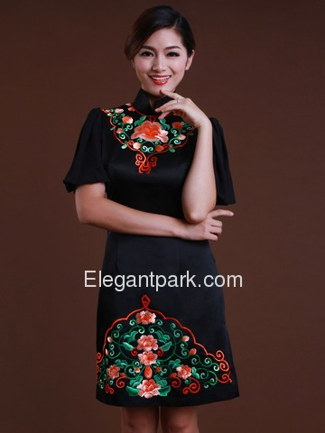 Black Ethnic High Ncek Patchwork Embroidery Bell Sleeves Knee Length Silk Cheongsam